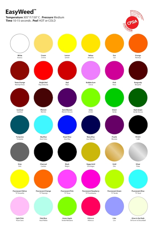 VINYL COLORS Reference Only