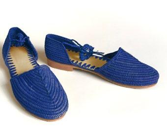 Blue Sandals. Blue Raffia Sandals. Lace Up Shoes. Espadrilles. Handmade raffia Shoes. Blue Shoes. Raffia Summer Shoes. Raphia