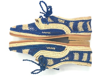 Handmade Raffia Shoes. Women Lace Up Shoes. Striped Oxford Shoes. Raphia Summer Shoes. Blue Striped shoes. Two-Tone Shoes. Lace-Up Rafia