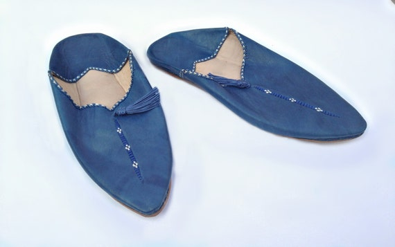 Blu In Cobalto Pelle Scarpe Etsy Babbucce Pantofole Blu ABXwBq
