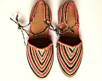Striped Raffia Sandals. Lace Up Sandals. Raffia Summer Shoes. Handmade Raffia Shoes. Raphia Sandals. Rafia Espadrilles.