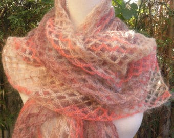 Coral silk and MOHAIR scarf / chestnut / ecru crochet