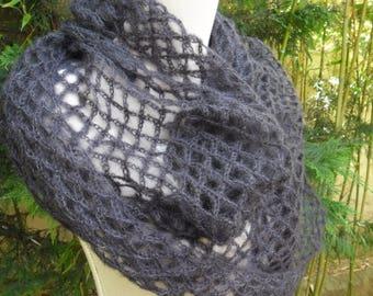 Black crochet MOHAIR and silk scarf