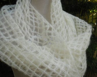 White crochet MOHAIR and silk scarf