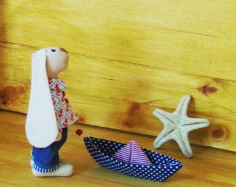 Tilda Rabbit Doll, Fabric Bunny Doll, Nautical, Decoration