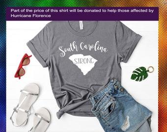 South Carolina strong grey white tshirt shirt Tee Short sleeve Hurricane Florence Donation