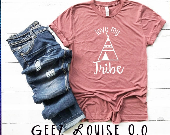 Love my tribe T-shirt fall pumpkin spice Adult Shirt thankful blessed teepee family boho