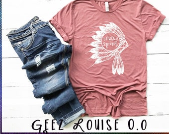 Free Spirit T-shirt indian head feather boho Adult Shirt mauve teal hippie trendy peace