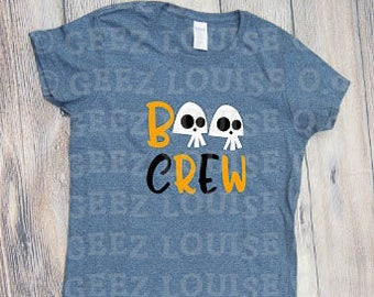 Boo Crew T-shirt Adult Personalized halloween skulls bats orange black trick or treat mom dad kids