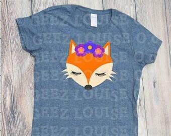 cute fox T-shirt Adult Vinyl Mom Shirt foxy shirt geez louise flowers teen