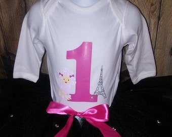 Paris Poodle Birthday Shirt Tutu outfit black pink Handmade Tulle Skirt Personalized Customized french glitter eiffel tower fancy
