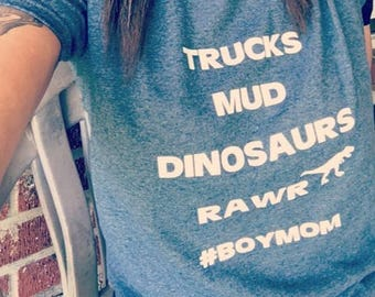 Boy Mom T-shirt Adult Kid  Personalized mother trucks dinosaur rawr mama