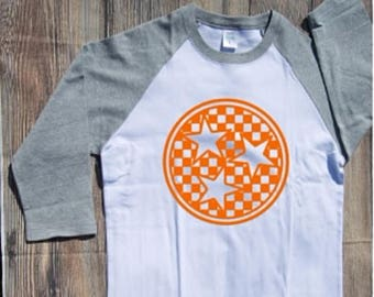 Tennessee Tri Star T-shirt Adult Raglan Baseball Tee  Vinyl Unisex Cotton Volunteers TN Vols state orange white cheakerboard