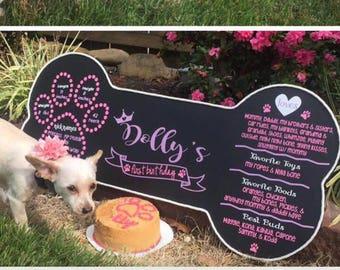 Puppy's First Birthday Chalkboard sign Photo Prop, Decor, Dog Chalkboard,Personalized Bone Customized