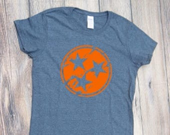 Tri-Star Monogram Tennessee T-shirt  Adult Shirt tri star tristar TN Volunteers State Monogram Orange White