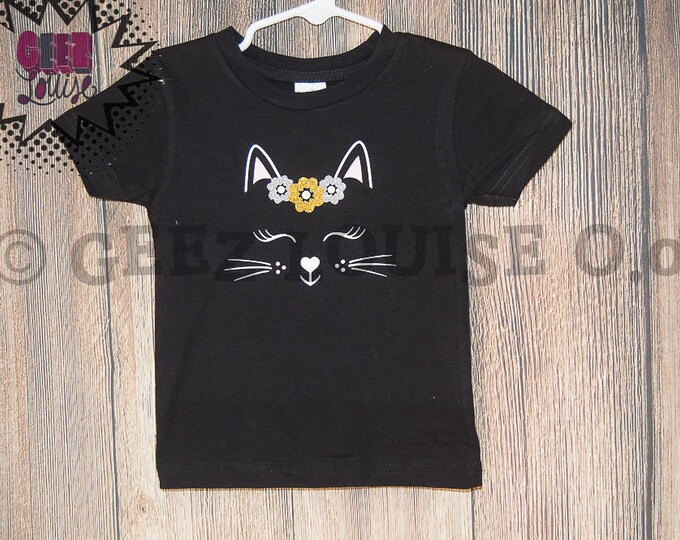 Kitty Cat Birthday Shirt Customized meow sleeping kat brown tan black wild