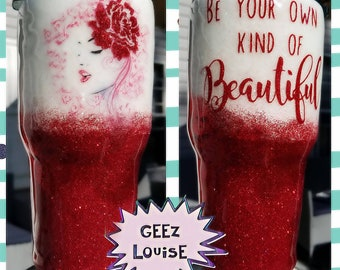 30 ounce glitter tumbler red white beautiful rose woman be you cup stainless steel customized