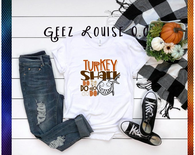 Turkey shark YOUTH tshirt shirt Tee Short sleeve gobble orange thanksgiving fall do do do do