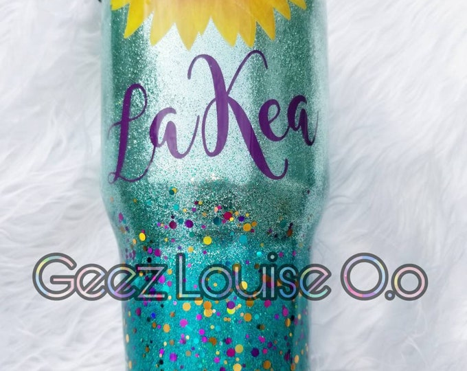 Sunflower personalized glitter tumbler  stainless steel customized  mint mermaid chunky