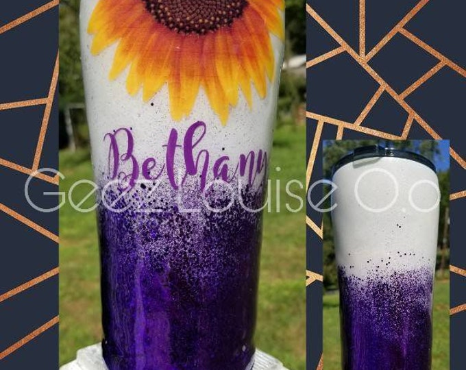 Sunflower glitter tumbler  stainless steel customized personalized any color