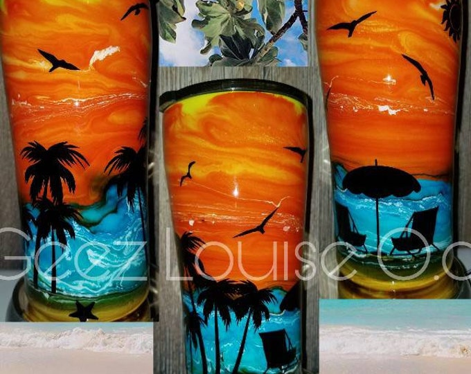 Sunset beach tumbler  stainless steel customized personalized ink swirl epoxy tropical