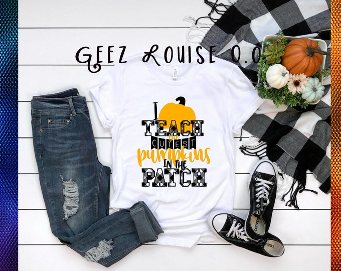 I teach cutest pumpkins tshirt shirt Tee Short sleeve fall autumn october flannel hayrides plaid teacher