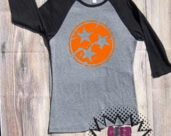 Tennessee Tri Star T-shirt Adult Raglan Baseball Tee  Vinyl Unisex Cotton Volunteers TN Vols state orange white cheakerboard