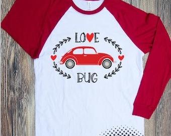 Love bug T-shirt Adult Raglan Baseball Tee  Vinyl Unisex Cotton Valentines shirt heart