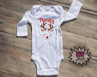 Christmas Bodysuit Infant  baby Unisex Cotton  t-shirt vinyl reindeer holiday xmas personalized