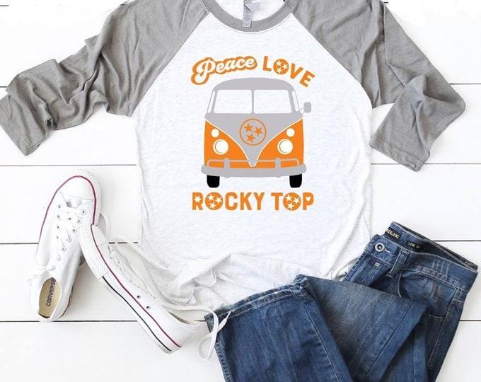 Peace Love Rocky Top T-shirt Adult Raglan Baseball Tee  Vinyl Unisex Cotton Tennessee Vols VW van