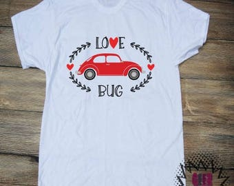 Love Bug T-shirt Adult Personalized Valentine's day Love Heart Shirt Car Sweetheart Vinyl