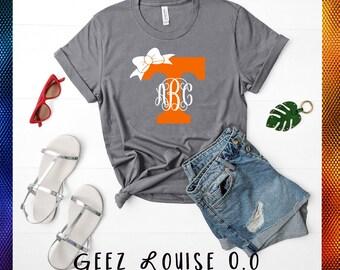 Tennessee monogram T-shirt football Adult Shirt  orange Vols Initials bow