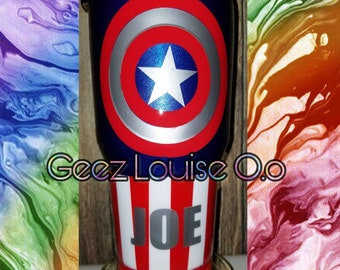 Captain America tumbler  stainless steel customized personalized epoxy resin