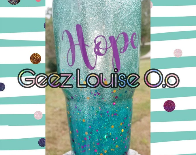 Glitter tumbler  stainless steel customized personalized epoxy resin mermaid mint