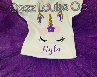 Unicorn Tutu Outfit Girl Skirt Boutique Personalized Clothing Baby Pink Purple Baby Photos