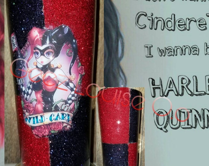 Harley quinn inspired tumbler  stainless steel customized personalized epoxy resin