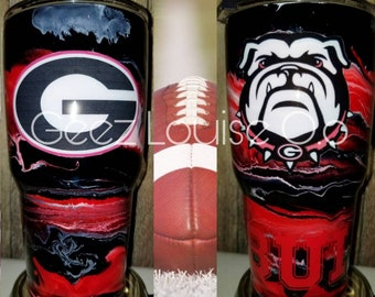 Georgia bulldogs swirl tumbler  stainless steel customized personalized football sec