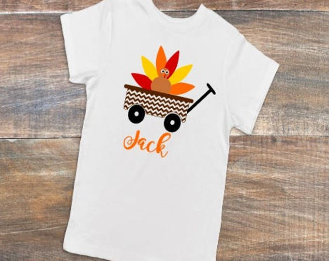 Thanksgiving Monogram Tshirt Personalized Turkey Wagon Youth Kid Child Unisex Cotton  t-shirt vinyl pumpkin spice fall autumn