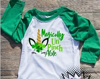 Saint Patricks Day Tshirt Unicorn Shamrock Youth Kid Child Unisex Cotton  t-shirt vinyl Green St. Paddys
