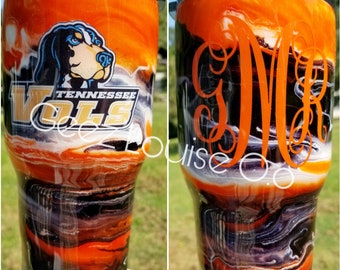 Tennessee Vols tumbler  stainless steel customized personalized ink swirl epoxy rocky top TN UT
