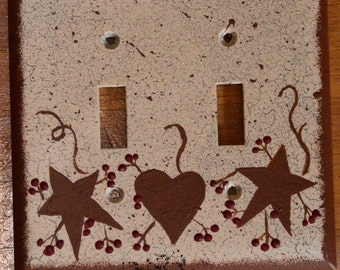 Primitive Country Rustic Double Light Switch Outlet cover - handpainted