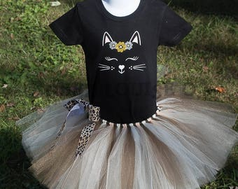 Kitty Cat Birthday Shirt Tutu outfit Handmade Tulle Skirt Personalized Customized meow sleeping kat brown tan black wild