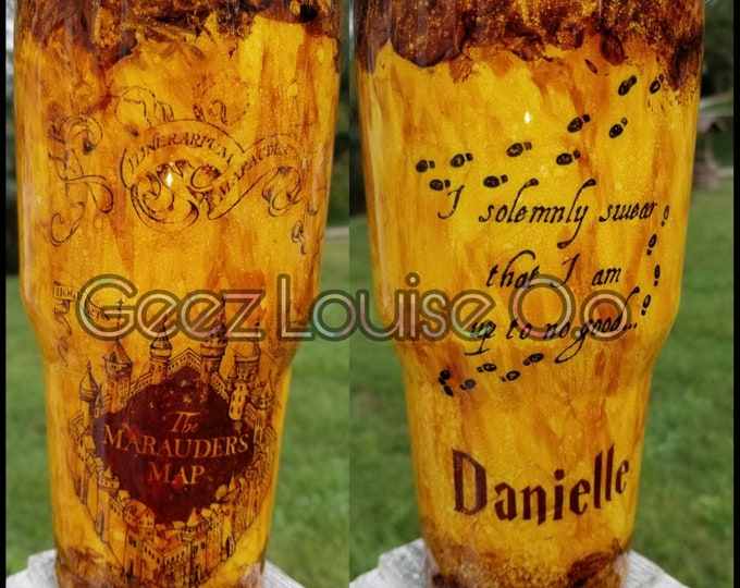 Harry potter inspired tumbler  stainless steel customized personalized epoxy resin