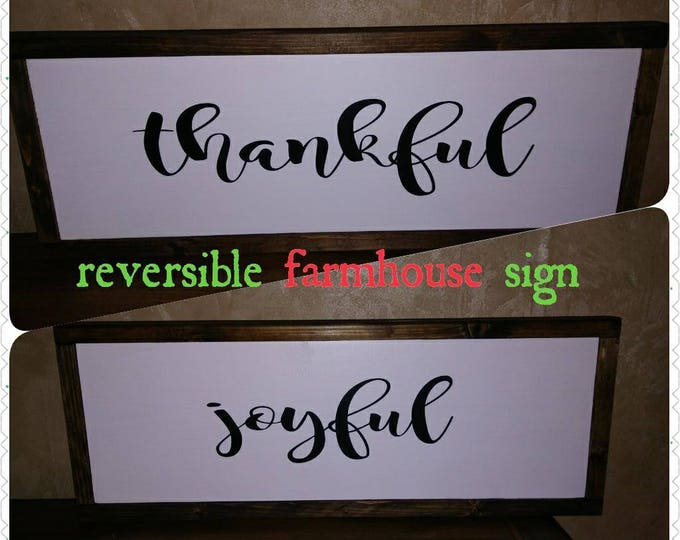 Christmas and Thanksgiving Farmhouse style Sign, Primitive, Rustic, Simple, Thankful, Joyful Home decor Wooden