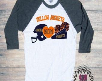 Football Cheer Mom Personalized T-shirt Adult Raglan Baseball Tee  Vinyl Unisex Cotton Sports Team Mother Cheerleading
