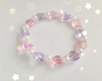 Cute Elasticated Heart and Pearl Bracelet, Fairy Kei, Pastel Kei, Sweet Lolita, Jfashion etc inspired