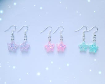 Cute Resin Star Sparkle Earrings, Pastel Kei, Fairy Kei, Sweet Lolita, Jfashion etc inspired