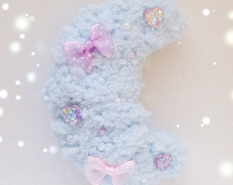 Kawaii Fluffy Crescent Moon Hair Clip, Fairy Kei, Sweet Lolita, Mahou Kei, Harajuku etc inpired