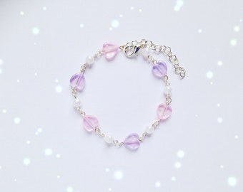Kawaii Heart and Pearl Bead Bracelet, Fairy Kei, Sweet Lolita, Decora Kei, Jfashion etc inspired