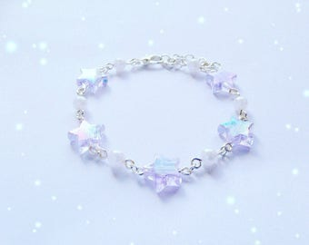 Cute Iridescent Star Bracelet with Pearl Details, Fairy Kei, Pastel Kei, Sweet Lolita, Jfashion etc inspired